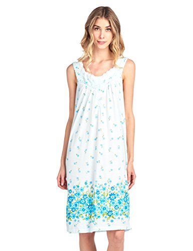 Casual Nights Women's Fancy Lace Floral Sleeveless Nightgown - Green - (Sleeveless Lounger)