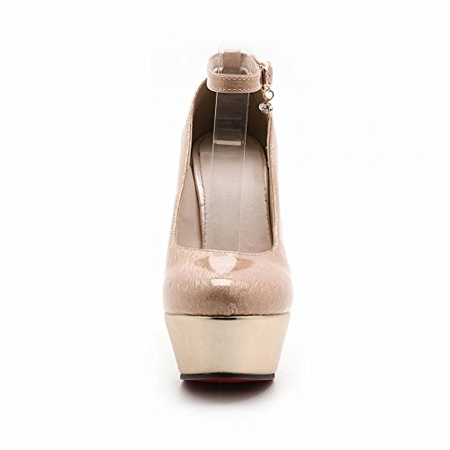 Mee Damen Plateau strap Pumps heels Aprikose ankle Shoes high 7rqAg5w7Z