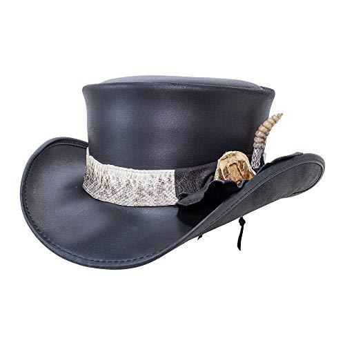 Voodoo Hatter Pale Rider-Rattlesnake Band by American Hat Makers Leather Top Hat, Black Finished-Rattlesnake Band - Small
