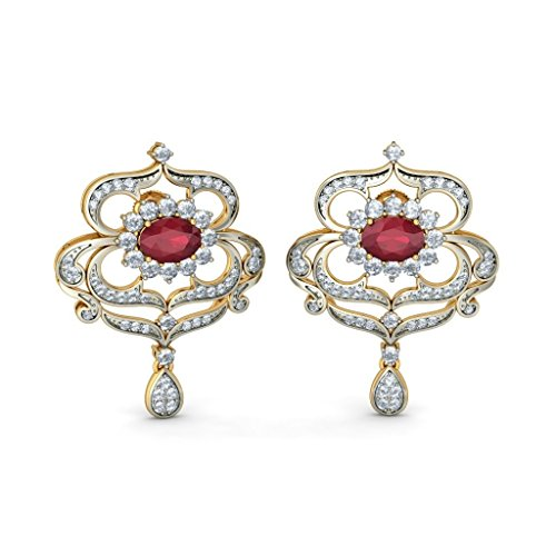 14 K jaune Or 1,5 carat au total White-diamond (IJ | SI) et rubis Boucles d'oreille