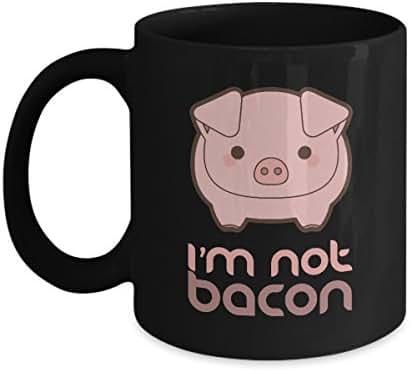 I'm Not Bacon Funny Pig Animal Pun Home Office Coffee Mug Tea Cup Black (11 ounce)
