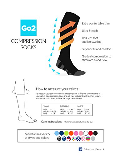 GO2 Compression Socks for Women & Men-Nurses,Running,Travel,Maternity-20-30mmHg(high)Medical Stocking-Graduated Fit Crossfit,Cycling,Skiing,Hiking-Best Performance,Recovery,Circulation & Stamina(2SXL) by Go2Socks (Image #4)
