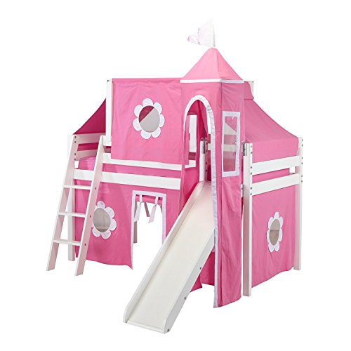Wood Loft Ladder (Jackpot! Essentials Low Loft Play Bed with Slide, Angled Ladder, Top Tent, and Hot Pink/White Curtains, White Finish)