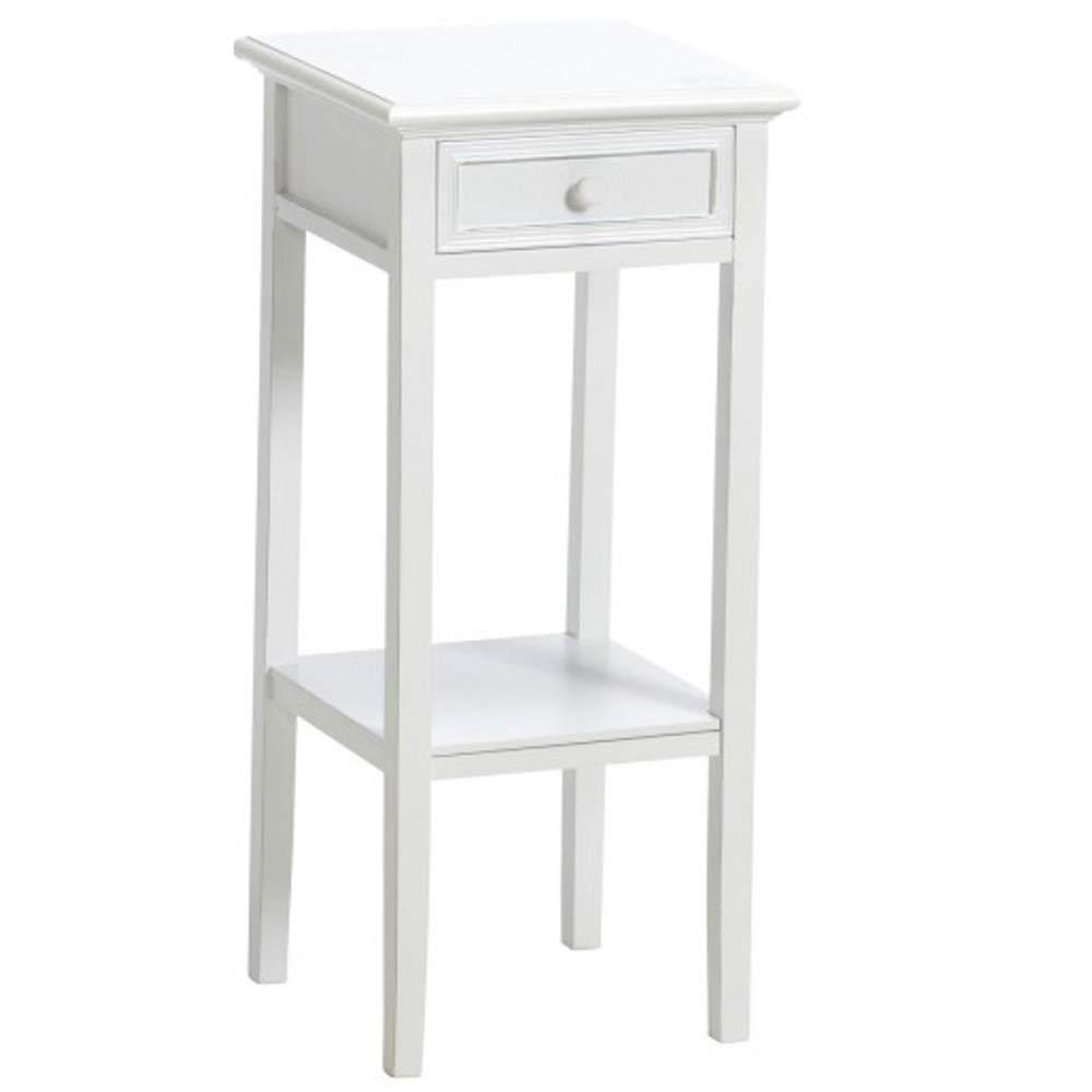 Dasmöbelwerk Großer Telefontisch Beistelltisch weiß Landhaus H 80 cm mit Schublade und Ablage 01.155.01 groß