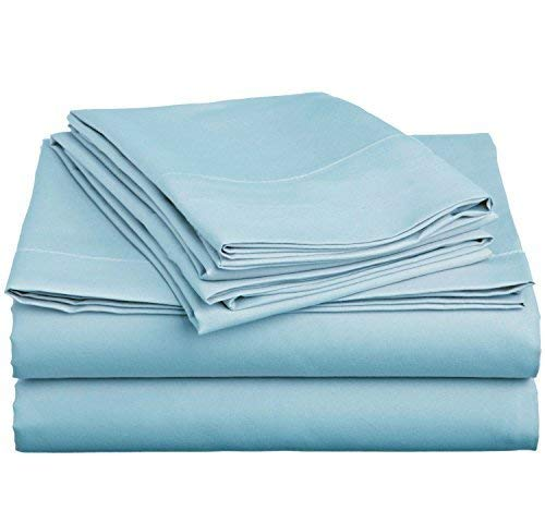 (King Size Flat Sheet Only, 600 Thread Count Egyptian Cotton 1 Piece Luxury Hotel Flat Sheet/Top Sheet Light Blue Solid-100% Satisfaction Guarantee)