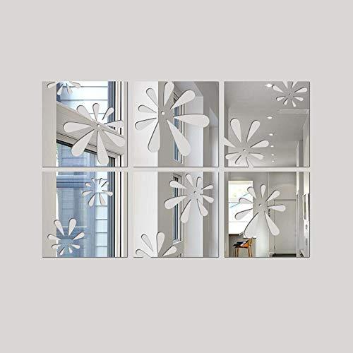 Hot Sale!DEESEE(TM)1set/6pcs Mirror Tile Sticker Square Self Adhesive Room Bathroom Decor Stick - Mirrors Shell Bathroom Shaped