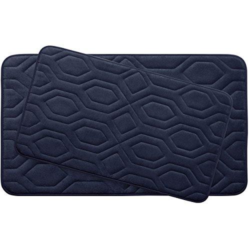 Bounce Comfort Extra Thick Memory Foam Bath Mat Set - Turtle Shell Premium Plush 2 Piece Set with BounceComfort Technology, 20 x 32 in. Indigo -  YMF Carpets, Inc., YMB003761