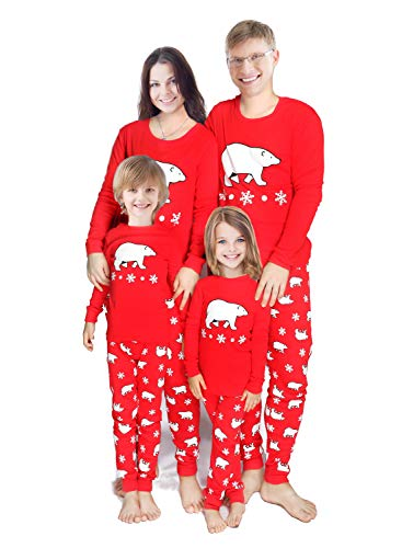 Winging Day Adult Mens Holiday Christmas Matching Family Pajama Set, Bear/Winter Snowflake Costumes Pajamas Sets Long Sleeve Kids Pjs Size L