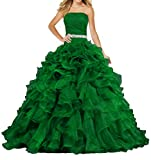 ANTS Women's Pretty Ball Gown Quinceanera Dress Ruffle Prom Dresses Size 6 US Green