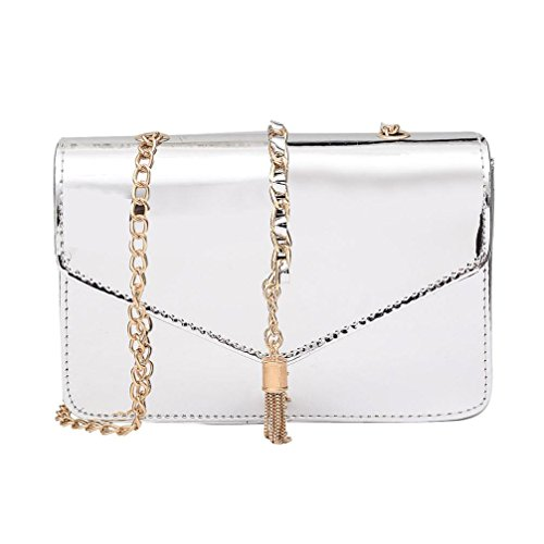 Handbags VEMOW Women Girl Anti Theft Messenger Vintage Strap Purse Tote Crossbody Bag Satchel Bags Purses Backpacks Shoulder Bags Clutches, Fashion Laser Tassel Leather Silver