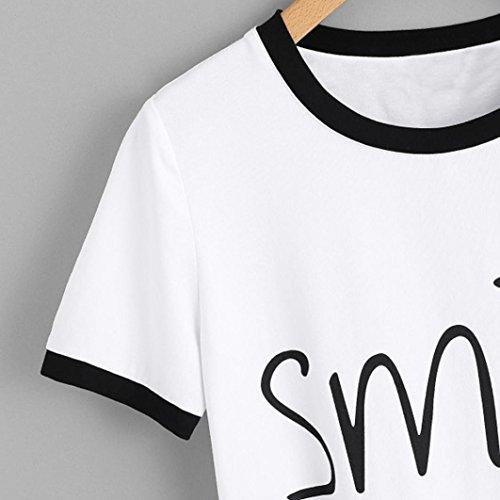 con collo Moda Camicia Stampa shirt Bianco Rcool Maglietta top T corta Polo Manica Donna Camicetta w0Tnt
