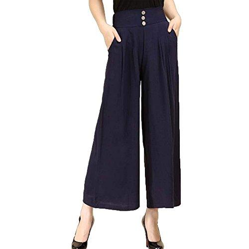 Tiempo Solo Largos Mujer Moda Un Ropa De Pantalones Niñas Pecho Otoño  Elegantes Pants Taille Libre Blau Alta Elastische Bolsillos Anchos Primavera  ... 8307b267dfae