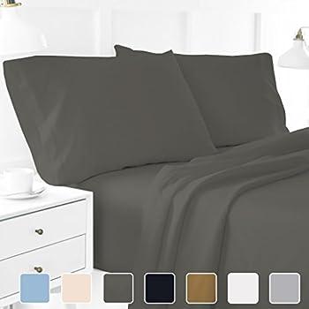 Cottington Lane Full XL Sheets Soft 100 Percent Cotton  Sheet Set For Full  XL Bed Dark Grey 400 Thread Count 15 Inch Super Deep Pocket