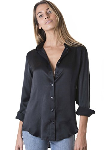 CAMIXA Women 100% Silk Blouse Long Sleeve Ladies Shirt Satin Pure Charmeuse Silk S Black