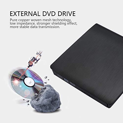 E.I.H. External DVD Drive Super Slim Portable USB 3.0 Interface Dual Layer Drive Pop-up Mobile External DVD Drive DVD-RW for PC and for Laptop