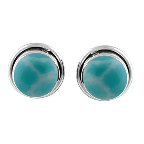 8x8mm Round Simulated Larimar & 925 Silver Plated Stud Earrings