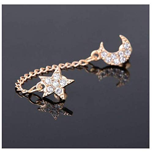 WelcomeShop Women Gold plated Moon & Star Shape Crystal Rhinestone Cuff Link Stud Earrings
