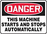 """Accuform Signs® 10"""" X 14"""" Black, Red And White 0.055"""" Plastic Equipment Machinery And Operations Safety Sign """"DANGER THIS MACHINE STARTS AND STOPS AUTOMATICALLY"""" With 3/16"""" Mounting Hole And Round Corner"""