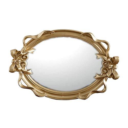 Yuchoi Espejo de la decoración del hogar Espejo de Maquillaje Europeo Luz Dorada Lujo Espejo Ovalado Resina Espejo de baño...