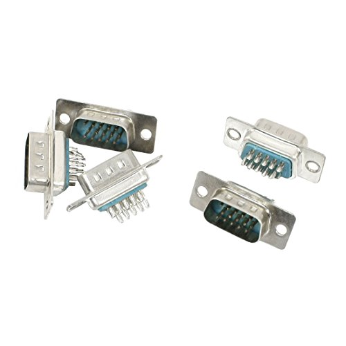 (uxcell Soldering 3 Row DB-15 Male 15Pin VGA D-Sub Connector Adapter 5Pcs)