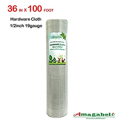 1/2 Hardware Cloth 36 x 100 19 gauge Galvanized Welded Wire Metal Mesh Roll Vegetables Garden Rabbit Fencing Snake Fence for Chicken Run Critters Gopher Racoons Opossum Rehab Cage Wire Window by F&T