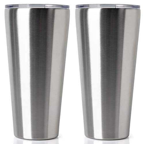 (32oz Tumbler Double Wall Vacuum Insulated Coffee Mug Stainless Steel Coffee Cup with Lid, Travel Mug Works Great for Ice Drink, Hot Beverage (2 pack, Stainless Steel))