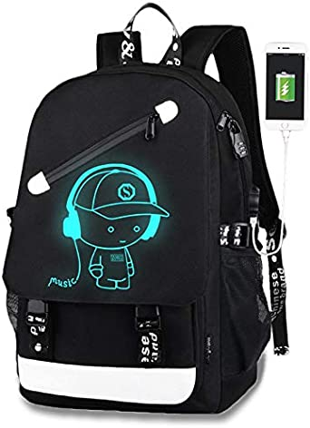 Unisex Backpack School Bag Luminous Anti-theft Lock USB Charger Chest Pen Bags