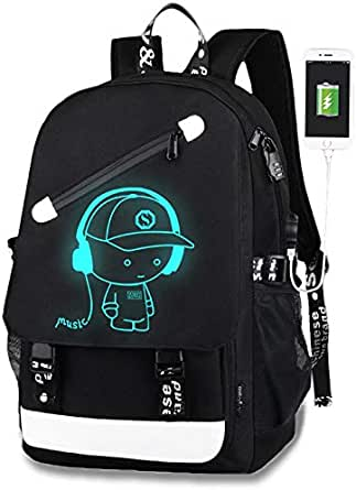 Luminous Backpack Boys,Lumcissy Anime School Bag,Unisex Fashion Laptop Backpack wth USB Charging Port