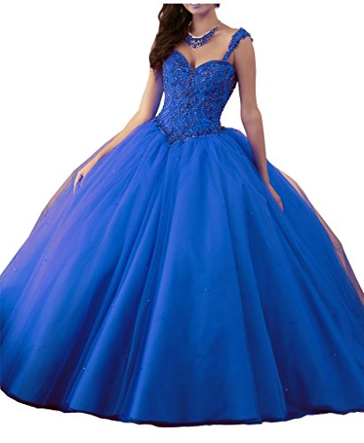 Quinceanera Gown New (Yang Sweetheart Women's Beaded Ball Gowns Tulle Girls 16 Quinceanera Dress 4 US Royal Blue)