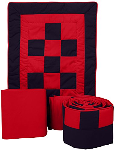 Baby Doll Bedding 3 Piece Patchwork Perfection Cradle Bedding Set, Navy/Red ()