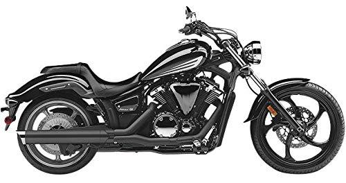 11-17 YAMAHA XVS13CA: Cobra Scalloped Tip Slip-On Exhaust (Black With Chrome ()