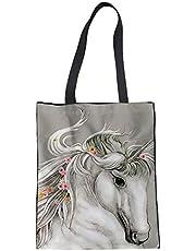 Trendy generous super cute Heavy Duty Ladies Linen Tote Bag Crazy Horse Pattern Canvas Bag,Colour Name:horse pattern-4 (Color : Horse pattern-6)