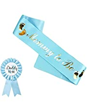 HAPPYLAND Blue Sash and Tinplate Badge Mommy to Be and Daddy to Be Baby Shower