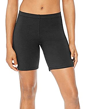 Hanes Women's Stretch Jersey Bike Shorts_Black