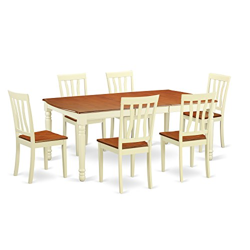East West Furniture DOAN7-WHI-W 7 Piece Kitchen Table and 6 Dining Room Chairs