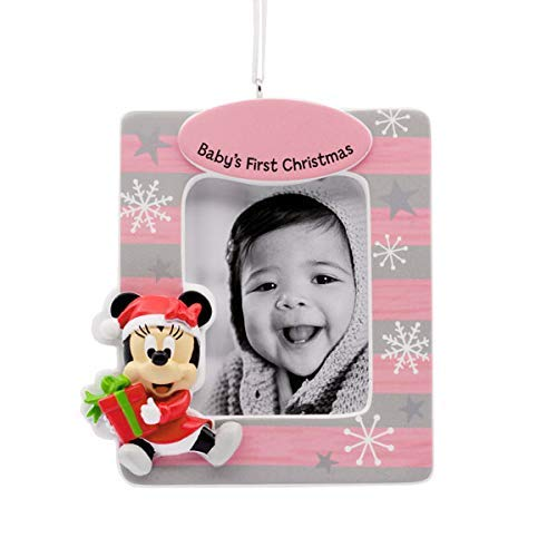 Disney Minnie Mouse Girl Baby's 1st Christmas Photo Frame Ornament Just BeClaus