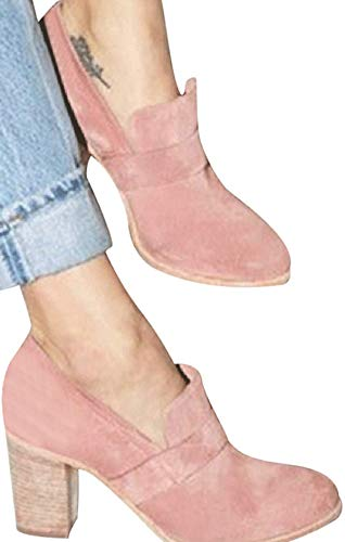 (Faionny Women Round Toe High Heels Suede Leather Boots Slip-On Single Shoes Solid Ankle Boots Sneakers Pink)
