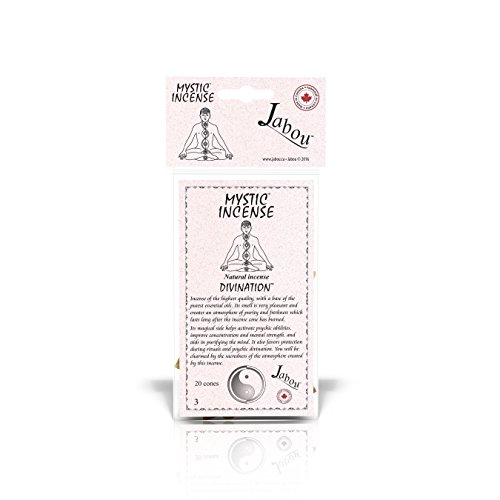 Divination Incense - Jabou Mystic 100% Natural Incense Cones - Divination - for Meditation, Yoga, Relaxation, Magic, Healing, Prayer & Rituals - 20 Cones - Each Lasting 30+ Minutes