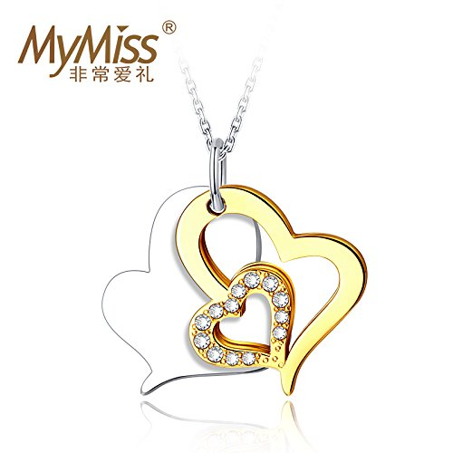 Generic New_official_flagship_store_ss_ 925 silver _plated_platinum_ women girl heart - shaped necklace pendant chain clavicle Valentine's _Day