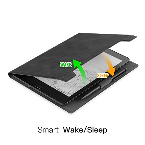 Ayotu Skin Touch Feeling Folding Case for BOOX Nova2 7.8 & BOOX Nova Pro 7.8 E-Reader,Premium PU Leather Lightweight Folding Stand Cover,with Pencil Holder and Auto Sleep/Wake Function