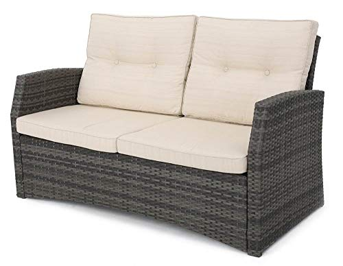 Noble House Outdoor Loveseat in Gray