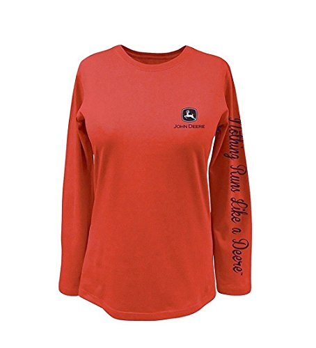 John Deere Sunset Orange Long Sleeve Ladies T-Shirt Nothing Runs Like A Deere Down Sleeve (XX-Large)