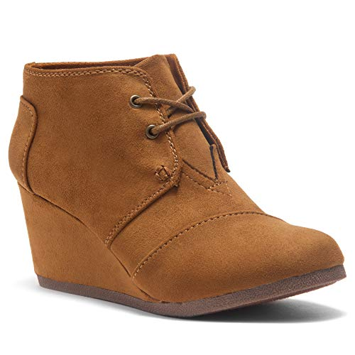Herstyle Corlina Women's Fashion Casual Outdoor Low Wedge Heel Booties Shoes Lace up Close Toe Ankle Boot Cognac 6.5