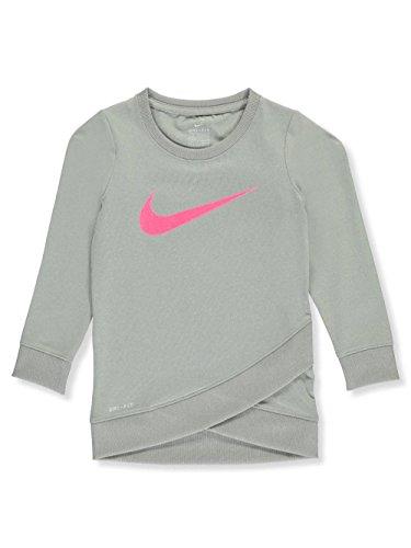 - NIKE Little Girls' Dri-Fit L/S Shirt (Sizes 4-6X) - Dark Heather Gray, 6X