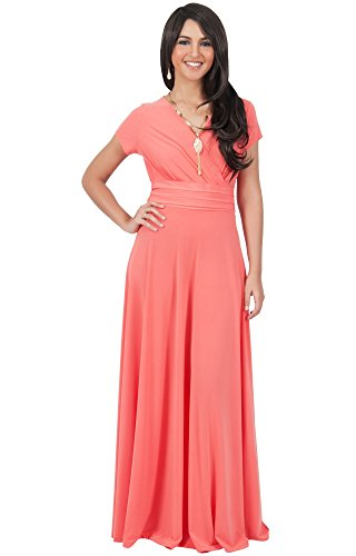 773b09a502 KOH KOH Plus Size Womens Long Cap Short Sleeve V-Neck Flowy Cocktail  Slimming Summer Sexy Casual Formal Sun Sundress Work Cute Gown Gowns Maxi  Dress Dresses ...