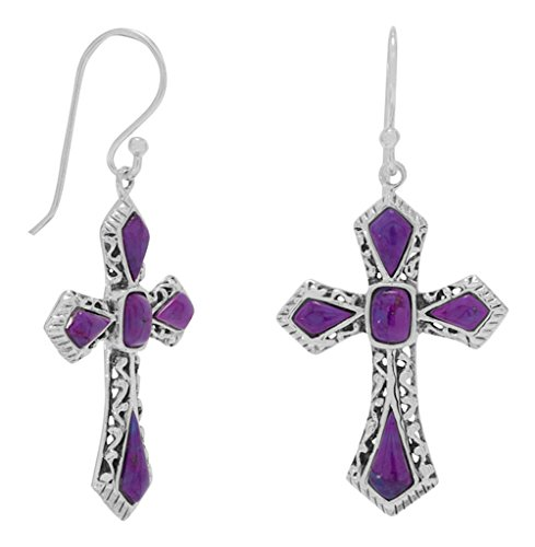 Sterling Silver French Wire Earrings, Dyed Purple Turquoise, 1-1/4 inch, Cross (Cross Sterling Earrings Silver Turquoise)