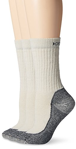 Icebreaker Women's Hike Medium Crew Socks (3 Pair), Silver/Black/Oil, Small