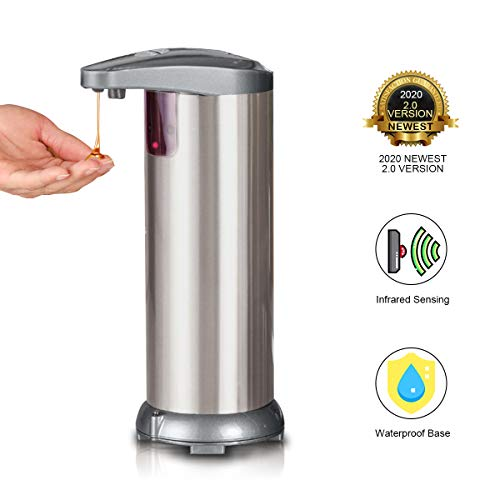 XCAI Electric Soap Dispenser,Touchless Automatic Soap Dispenser, Infrared Motion Sensor Stainless Steel Auto Hand Soap Dispenser with Waterproof Base for Bathroom Kitchen Hotel