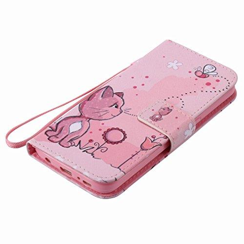 Yiizy Samsung Galaxy S7 G930 Funda, Coño De Color Rosa Diseño Solapa Flip Billetera Carcasa Tapa Estuches Premium PU Cuero Cover Cáscara Bumper Protector Slim Piel Shell Case Stand Ranura para Tarjeta