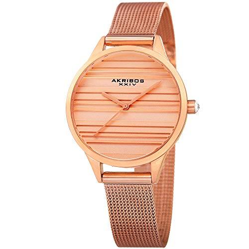 Akribos XXIV Striated Classic Designer Watch - Clean and Unique Dial Women's Quartz Watch on Mesh Bracelet - AK1005